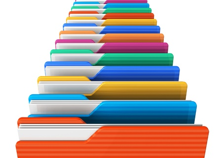 archives: Row of color folders isolated on white background Stock Photo