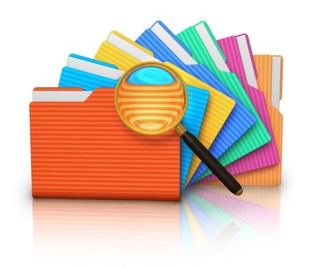 gestion documental: Archivo concepto de grupo de búsqueda de carpetas de colores y la lupa sobre fondo blanco con el efecto de la reflexión