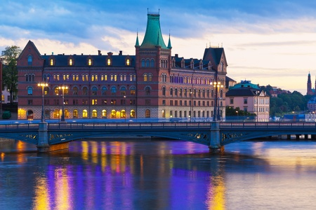 the old town hall: Scenic evening panorama of the Old Town (Gamla Stan) in Stockholm, Sweden Stock Photo