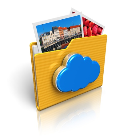 Cloud computing and media storage concept  folder icon with photos and blue glossy cloud icon isolated on white background with reflection effect     All photos used here are my own from my own portfolio photo
