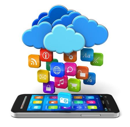 Cloud computing en mobiliteitsconcept touchscreen smartphone en blauwe glanzende wolken met veel kleur pictogrammen voor toepassingen op een witte achtergrond ontwerp van smartphone is mijn eigen en alle tekst labels zijn volledig abstract Stockfoto