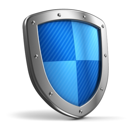 antivirus: Steel protection shield isolated on white background Stock Photo