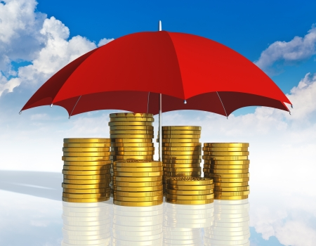 financial stability: Financial stability, business success and insurance concept  stacked golden coins covered by red umbrella against blue sky with clouds on white background with reflection effect Stock Photo