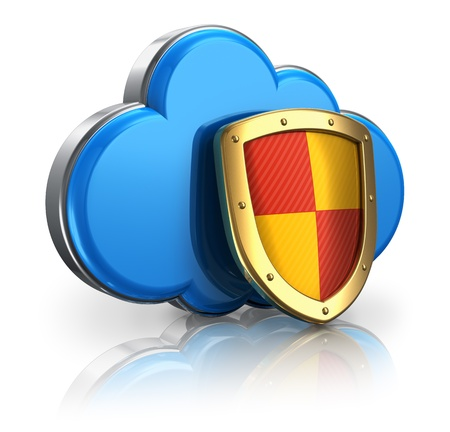 firewall: Cloud computing and storage security concept: blue glossy cloud icon covered by metal protection shield isolated on white background with reflection effect Stock Photo