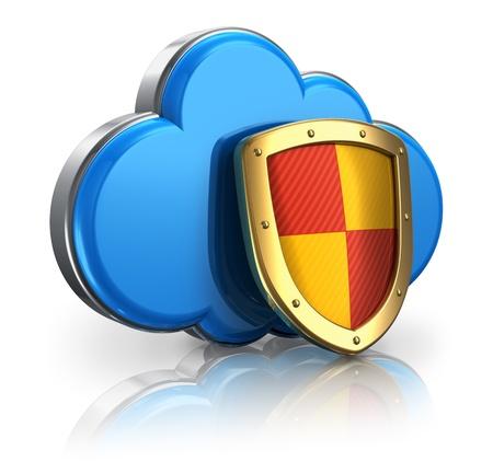 La computación en nube y el concepto de seguridad de almacenamiento: icono azul brillante cubierta por la nube protección metálica de protección aislados en fondo blanco con el efecto de la reflexión Foto de archivo