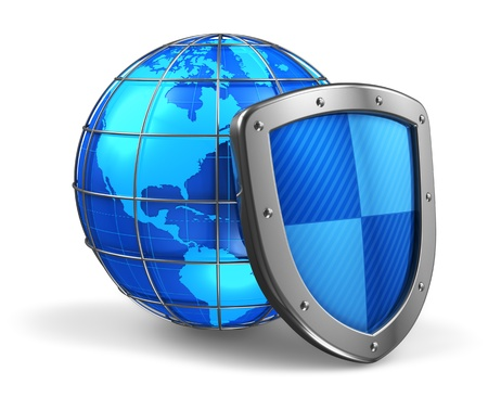 Global and internet security concept: blue glossy Earth globe covered by metal protection shield isolated on white background