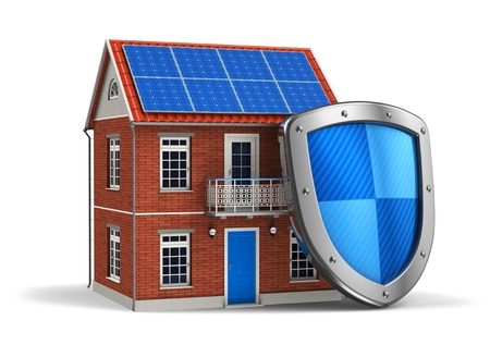 Home security concept  residential house covered by protection shield isolated on white background photo