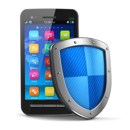 개인 정보 보호: 스마트 폰의 흰색 배경 디자인에 고립 된 금속 보호 쉴드로 덮여 모바일 보안 및 안티 바이러스 보호 개념 검은 광택의 터치 스크린 스마트 폰은 내 자신의 모든 텍스트 레이블은 완전히 추상적이다