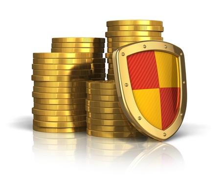 Finanzielle Versicherung und wirtschaftliche Stabilität Konzept: Stapel von goldenen Münzen durch Schutzschild auf weißem Hintergrund mit Reflexion Wirkung getrennt erfasst Standard-Bild