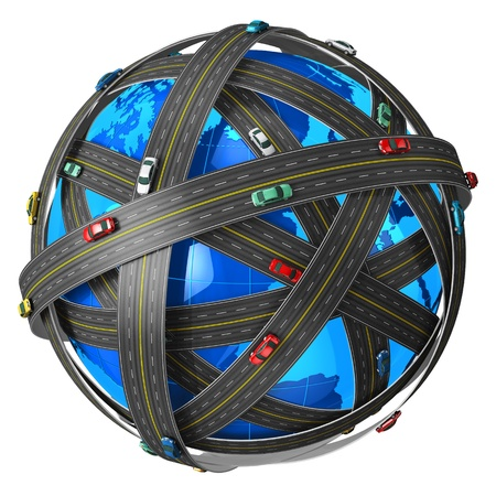 Travel, transportation and GPS navigation concept: blue Earth globe covered by endless roads with color cars isolated on white background
