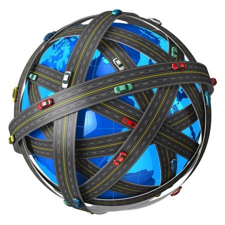 cruce de caminos: Viajes, transporte y concepto de navegaci�n GPS: planeta Tierra azul cubierto por las carreteras sin fin con los coches de color sobre fondo blanco