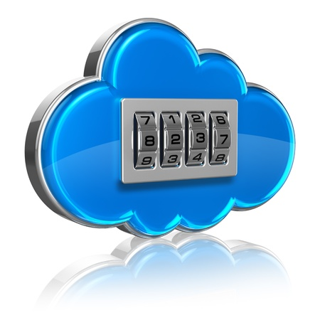 cloud security: Cloud computing internet security concept  blue glossy cloud icon with combination lock isolated on white background with reflection effect