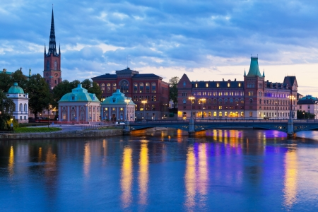 Scenic evening panorama of the Old Town  Gamla Stan  in Stockholm, Sweden Stock Photo