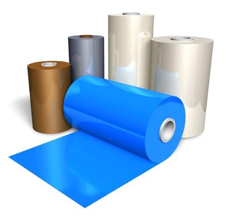 rollo pelicula: Los rollos de cinta de plástico de color sobre fondo blanco Foto de archivo