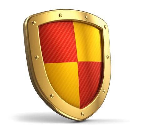 Golden protection shield isolated on white background Фото со стока