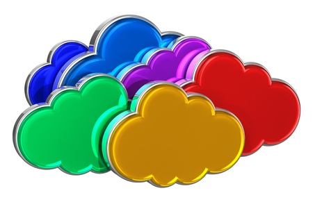 Cloud computing concept  group of colorful glossy clouds isolated on white background photo