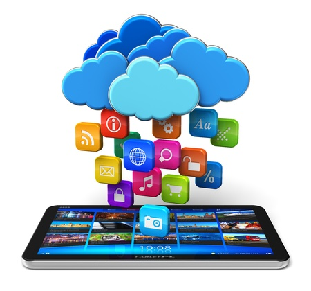 cloud storage: Cloud computing and mobility concept - tablet PC and blue glossy clouds with lot of color application icons isolated on white background  Design and all used photos are my own and all text labels and numbers are fully abstract Stock Photo