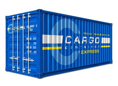 seafreight: Blue cargo container isolated on white background  Design is my own and all text labels and numbers are fully abstract