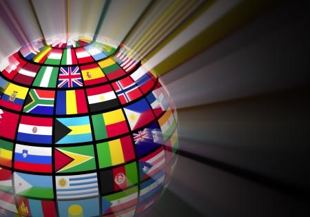 flags world: La comunicaci�n global concepto de mundo que brilla intensamente con las banderas del mundo sobre un fondo negro