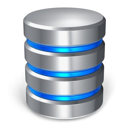 Hard disk e icona del database isolato su sfondo bianco
