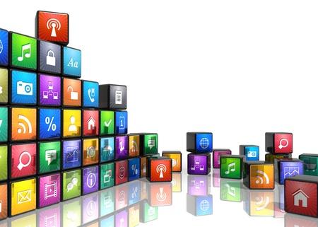 web application: Le applicazioni mobili, dei media e delle tecnologie concetto di cubi con icone delle applicazioni a colori isolato su sfondo bianco con effetto di riflessione