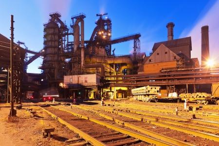 metallurgy: Blast furnace equipment of the metallurgical plant at night