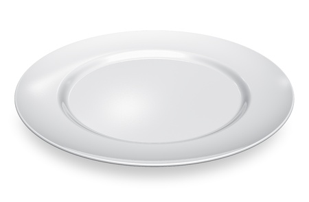 Empty white porcelain plate isolated on white background photo