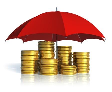 La stabilité financière, la réussite des entreprises et le concept d'assurance empilés pièces d'or couverts par le parapluie rouge isolé sur fond blanc avec des effets de réflexion