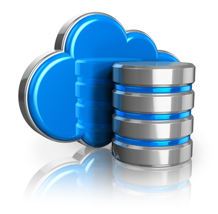 virtual server: Cloud computing and remote data storage concept  blue glossy cloud and hard disk icon isolated on white background with reflection effect