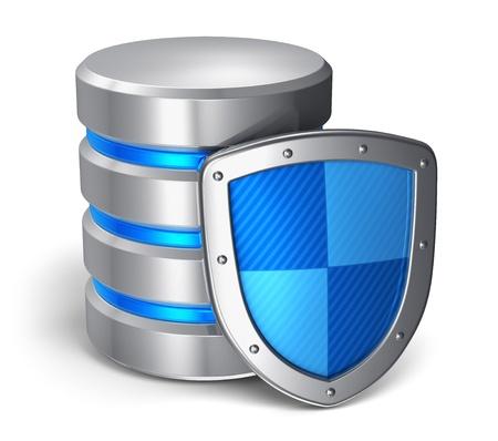 Base de données et sécurité informatique des données notion métal icône de disque dur couvertes par la protection bouclier isolé sur fond blanc