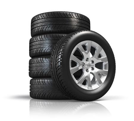 huellas de neumaticos: Juego de ruedas de coche aislados en fondo blanco con el efecto de la reflexión