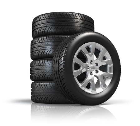 tyre tread: Set of car wheels isolated on white background with reflection effect Stock Photo