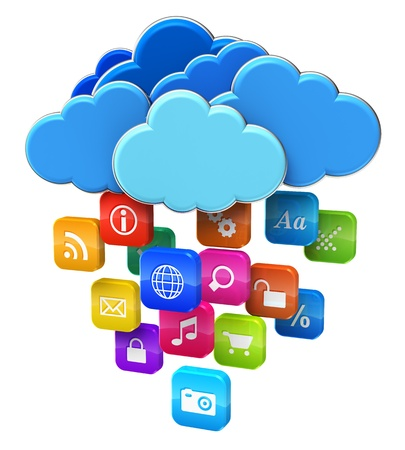 computer applications: Cloud computing and mobility concept  blue glossy clouds with lot of color application icons isolated on white background
