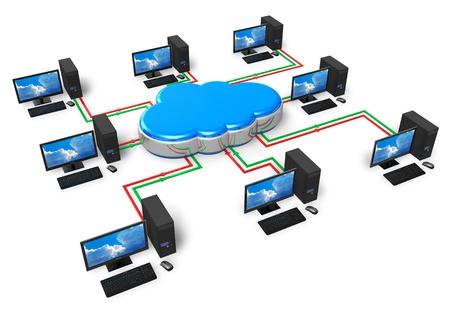 infraestructura: La computaci�n en nube y el concepto de red de la computadora aislados sobre fondo blanco Foto de archivo