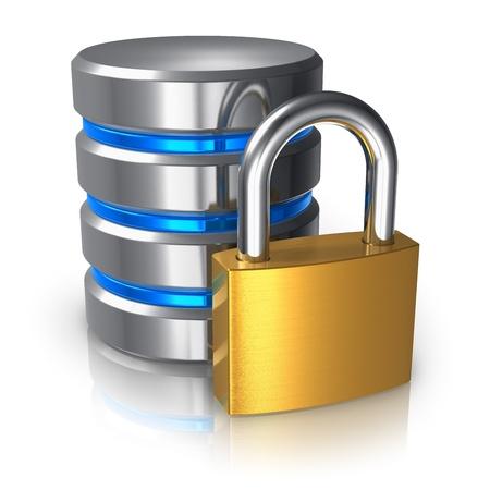 Base de données et sécurité informatique des données notion métal icône de disque dur avec cadenas doré isolé sur fond blanc avec des effets de réflexion