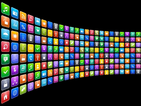 Mobile applications concept  endless row of colorful app icons isolated on black background