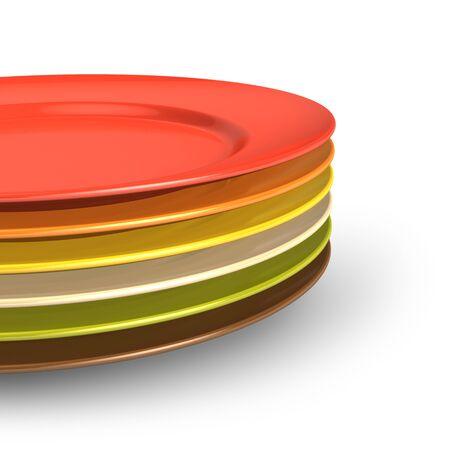 Set of color kitchen porcelain plates isolated on white background photo