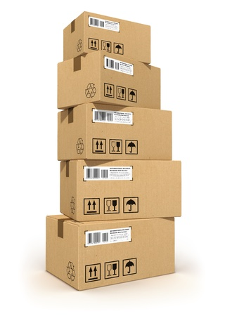 cardboard: Stack of cardboard boxes isolated on white background  All text labels, numbers and barcodes on cardboard boxes are fully abstract