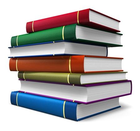 apilar: Conjunto de libros de colores aislados sobre fondo blanco Foto de archivo