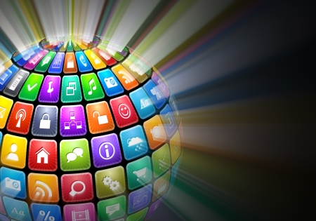 mobile apps: Glowing sphere from color application icons on black background Stock Photo