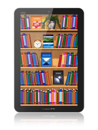 Bookshelf in tablet computer isolated on white background with reflection effect  Design and used photos are my own and all text labels are fully abstract