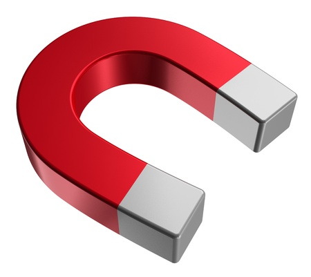 magnetize: Red horseshoe magnet isolated on white background