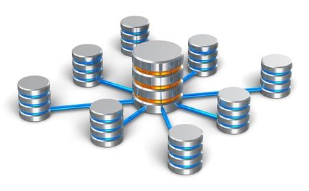 infraestructura: Concepto de base de datos y redes conectados iconos met�licos de disco duro aisladas sobre fondo blanco