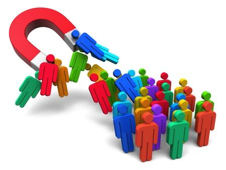 mágnes: Social engineering fogalma patkó mágnes rögzítését tömeg színes emberi alak, elszigetelt, fehér, háttér
