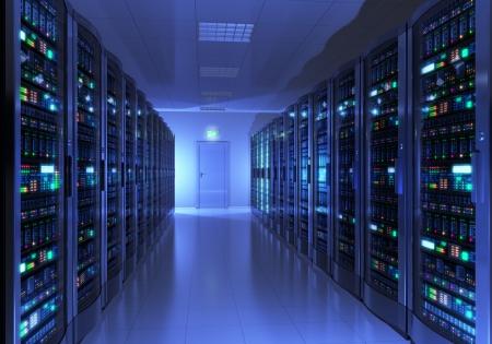 hospedagem: Interior moderno da sala de servidores no datacenter projeto é o meu próprio e todos os rótulos de texto e números são totalmente abstrato