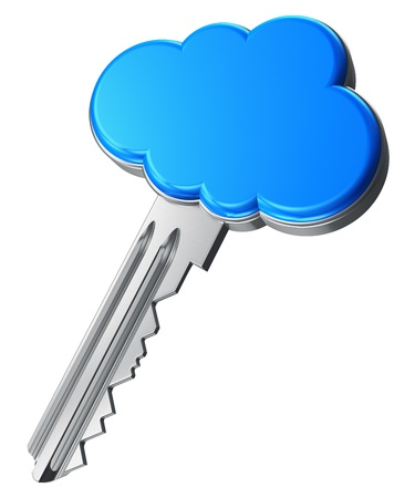computer key: Cloud computing concept  metal key with blue cloud shape handle isolated on white background  DESIGN IS MY OWN Stock Photo