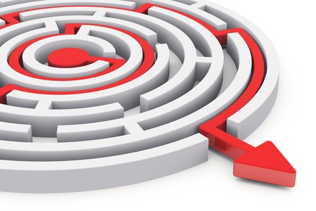 Solved round circle labyrinth with red path with arrow isolated on white background Stock Photo