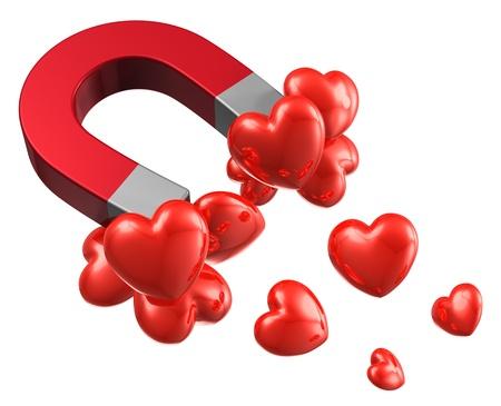 calamita: Concetto molto amore e l'attrazione di cuori rossi attratti dal magnete a ferro di cavallo in metallo isolato su sfondo bianco