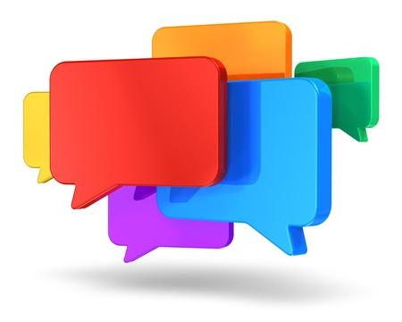 tweet icon: Los medios de comunicaci�n de redes sociales, chat, mensajer�a y el grupo de comunicaci�n concepto de brillantes burbujas de di�logo de colores sobre fondo blanco Foto de archivo