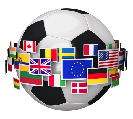 International football championship concept  soccer ball with group of color world flags isolated on white background photo
